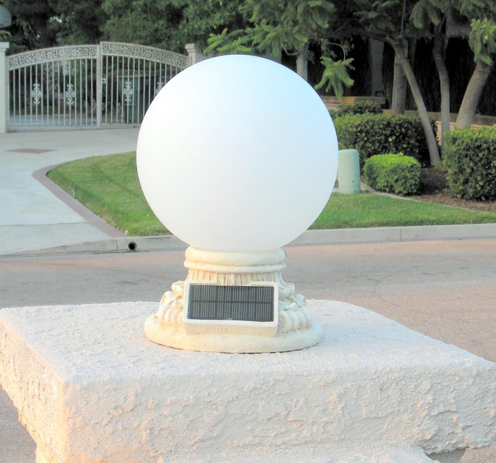 "Driveway Night Lights: Solar Power 10"" Glass Globe Handcrafted Entrance Light"